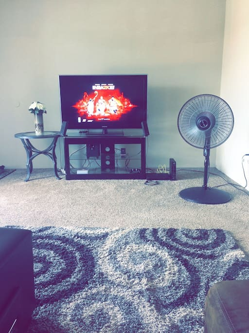 A tv, Stand, PS3 and standing fan