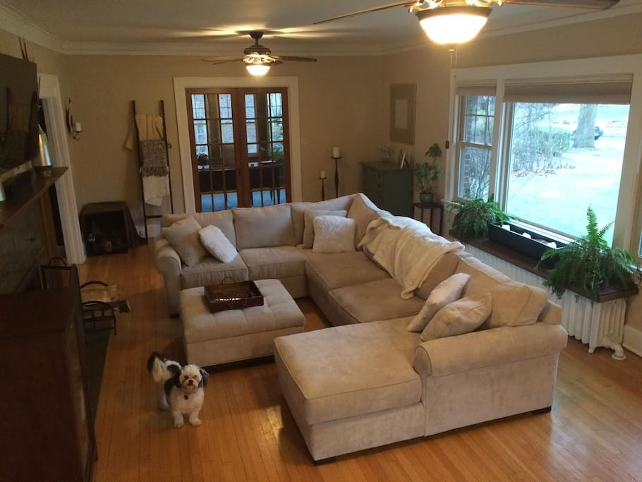 Large sectional couch perfect for tv viewing. Sleeps 2 people comfortably.