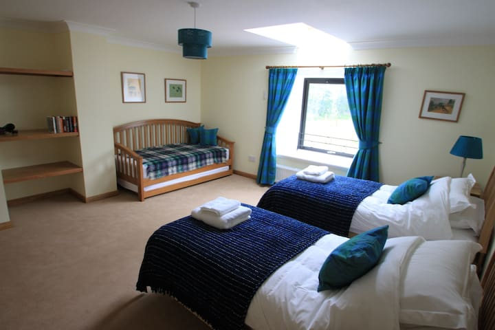 Family bedroom.  Twin beds can be made up as a double. The daybed has a pull-out bed underneath