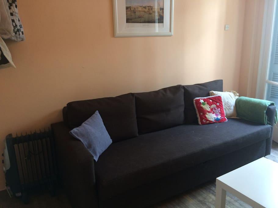 Double sofa bed in guest bedroom