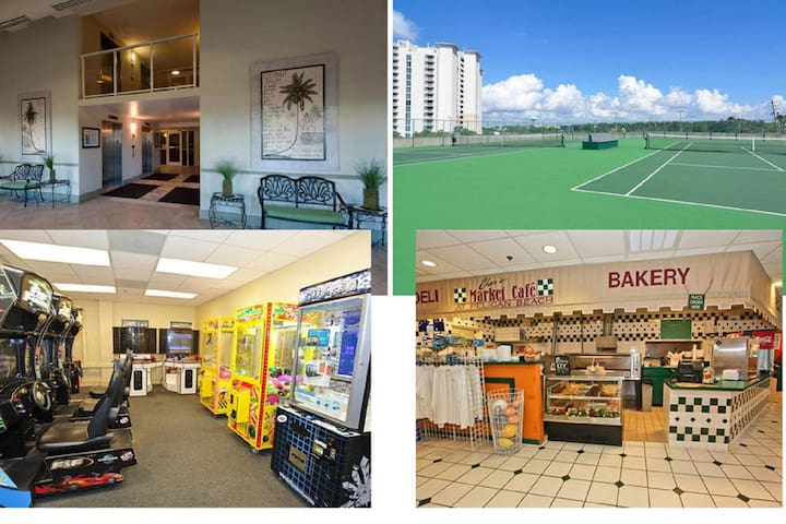 Lobby, game room, tennis courts