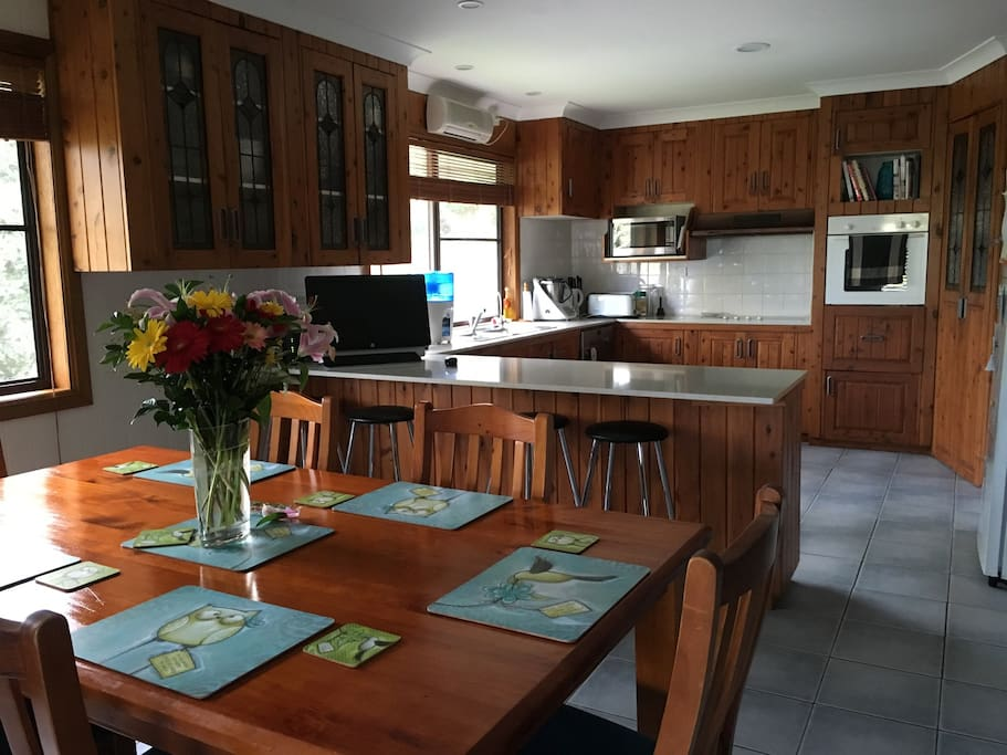 Large kitchen and dining