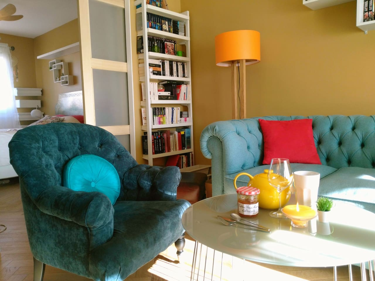 The living room (with the chesterfield sofabed if needed ; and my bedroom just behind)
