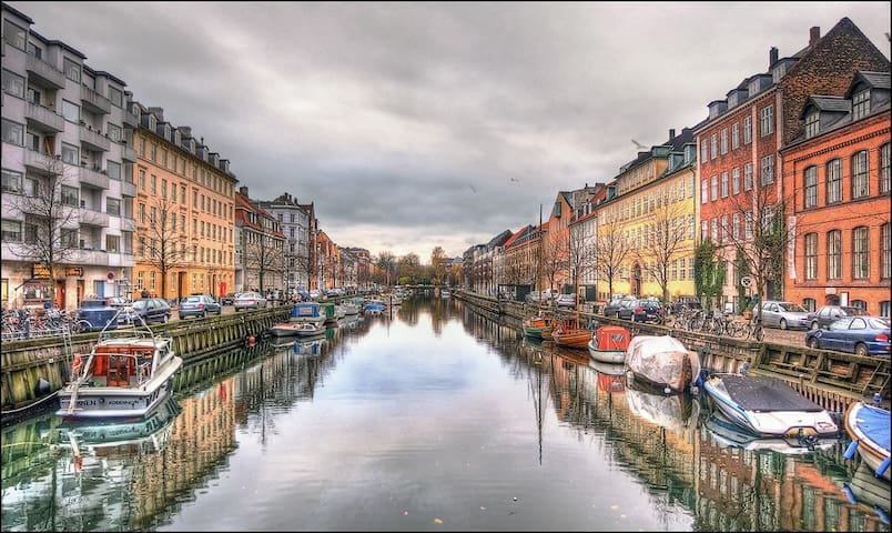 Copenhagen is charming with its many channels. Christianshavn channel is 10 min away by bus