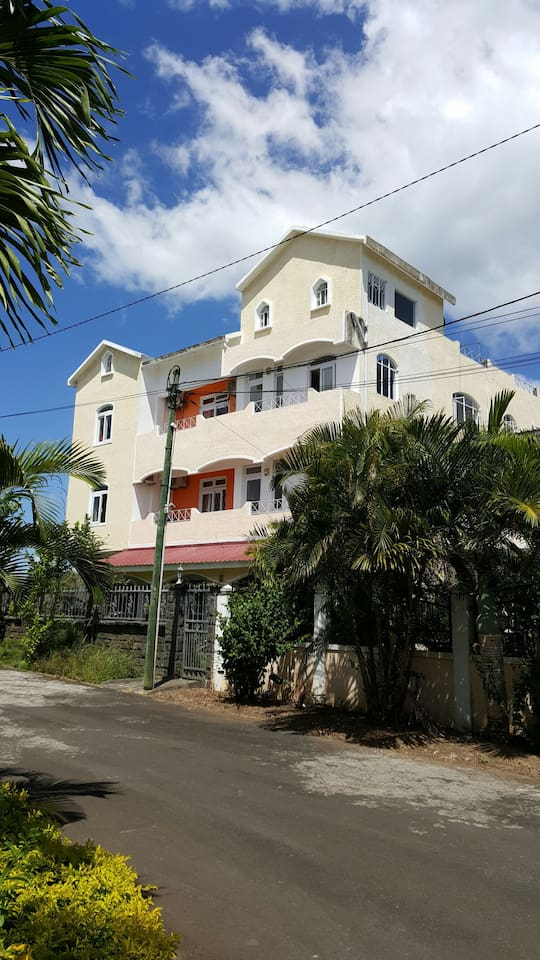 The Lotus apartment is on the first floor of The Impala Mauritius holiday rentals, Mon Choisy.