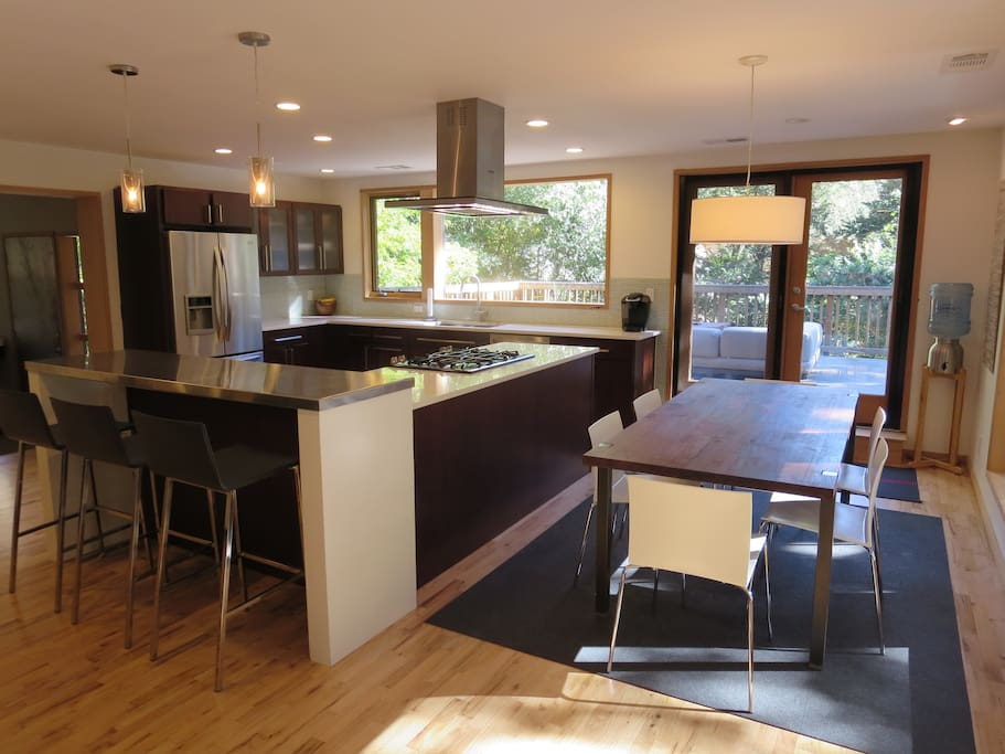 french doors lead to the large 700 square foot deck