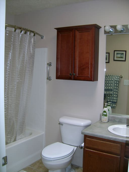 Guest bathroom, near main area.  Shower and tub