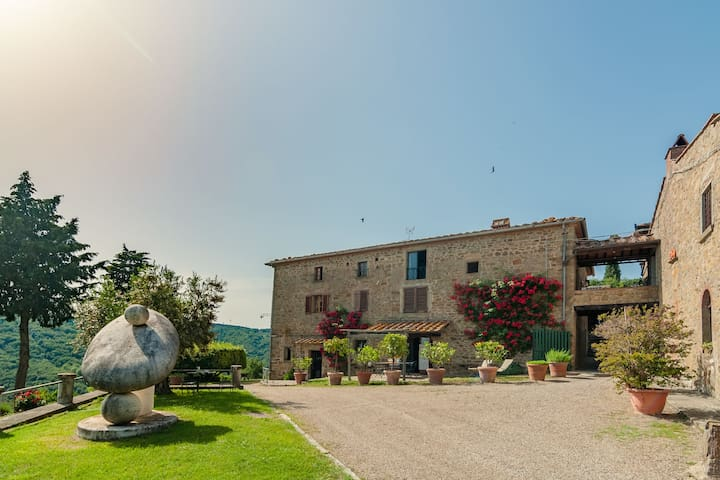 A beautiful, traditional Tuscan hamlet in the hills.