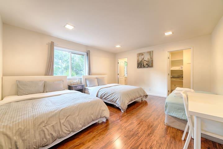 旧金山机场附近Millbrae高尚住宅区温馨舒适5房4卫10床