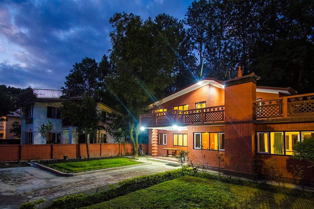 Epiphany Guest House is build with traditional Nepalese Brick. It has two large lawns in teh front yard giving it a very spacious look.