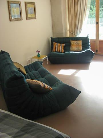 Salon-canapé devant la baie vitrée (lit double en arrière plan)