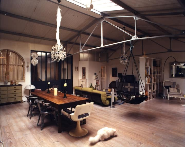 loft of character with a patio