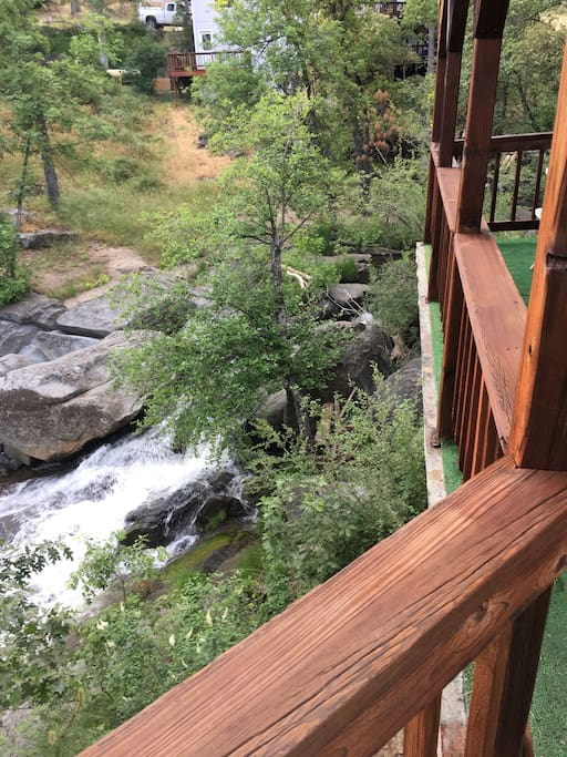 View of the waterfall from the deck