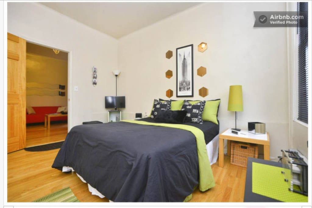 Bedroom with full size bed, HDTV, AC, Heater, sunlight windows