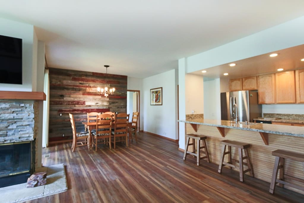 Luxury Rustic Pine floors & Reclaimed Canadian Barnwood accents.