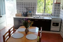 Well equiped kitchen with the view on lemon tree