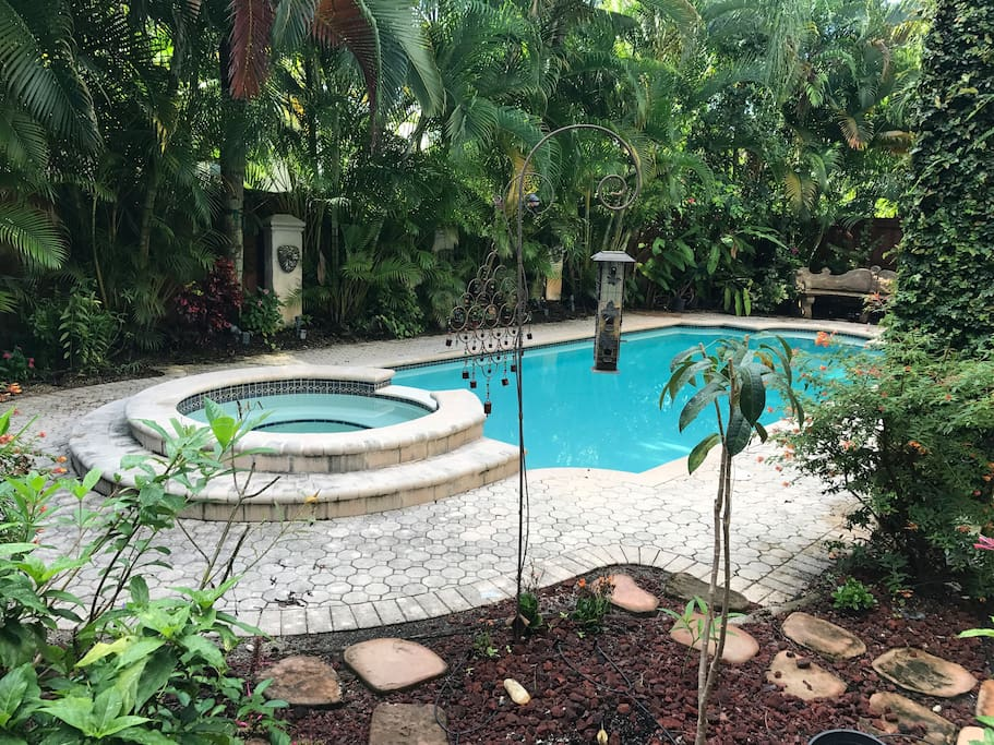Jacuzzi, Pool and butterfly garden