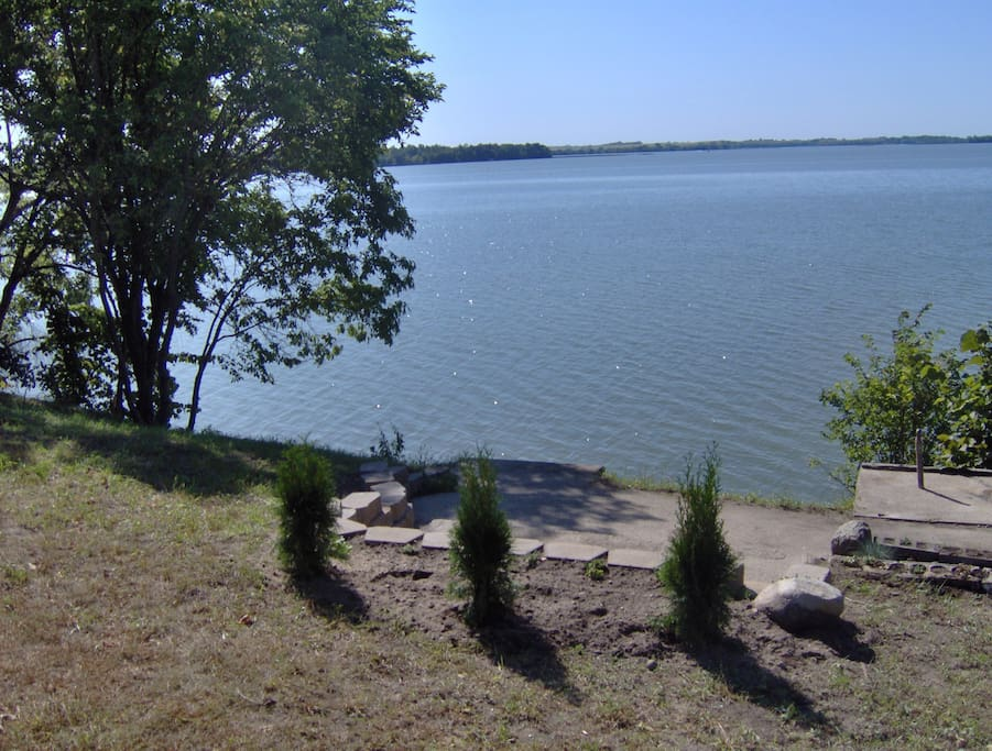 View of Pelican Lake from the steps to the swimming beach