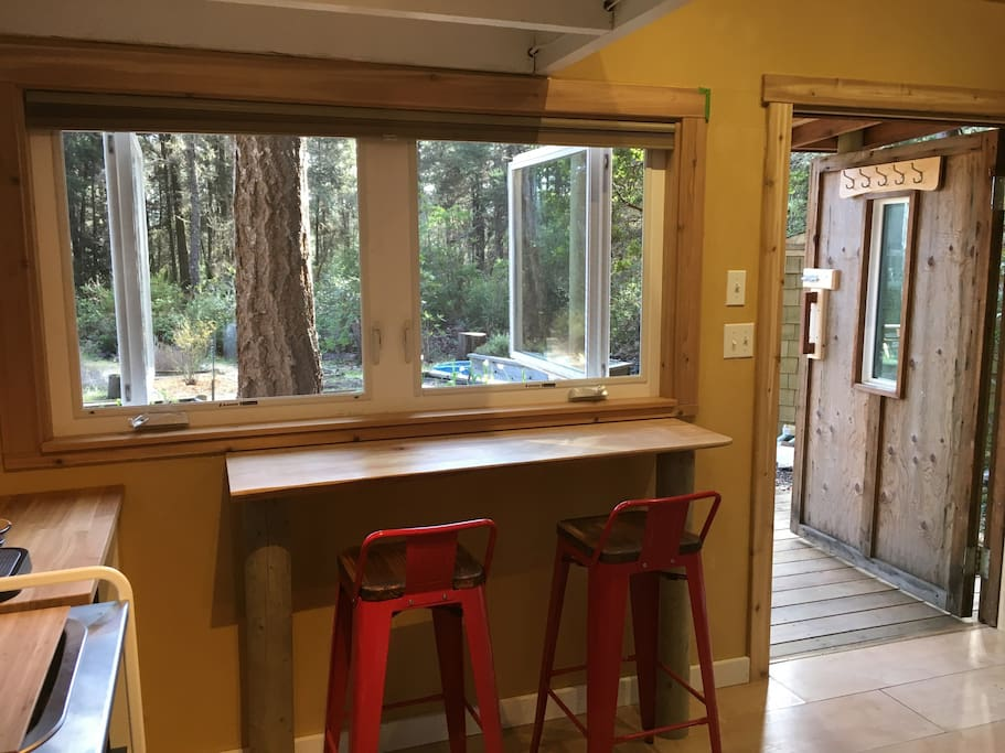 Bar made from local redwood tree