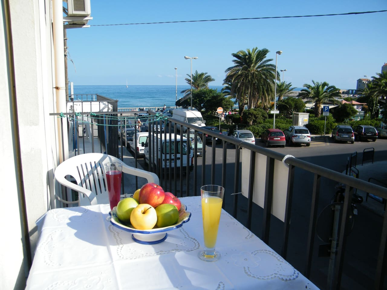 sea view from balcony on Piazza Colombo, in good position at the centre of Cefalù