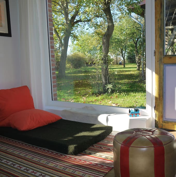 Gartenblick durch das grosse Fenster