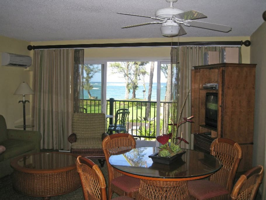 View from inside an upstairs oceanview unit. Not all units have ocean views, some are garden or greenbelt views.