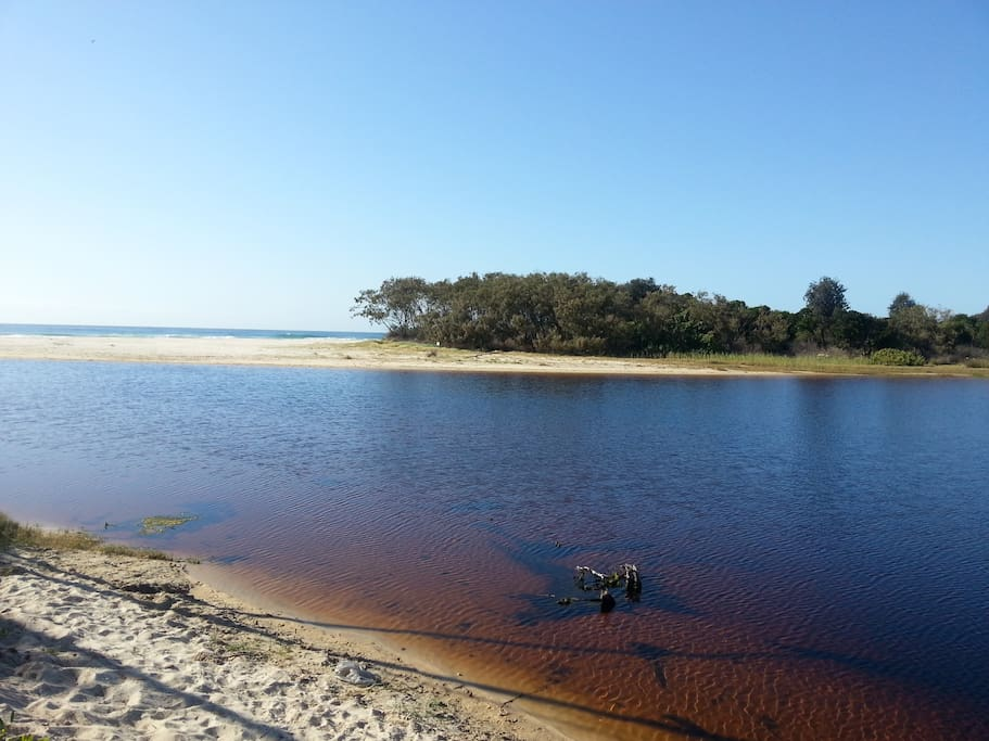 A pristine,almost private,beach and tea tree lake just 5/10 min walking distance from our place