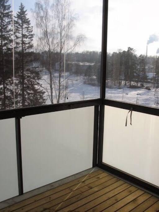 Balcony with shielded windows.