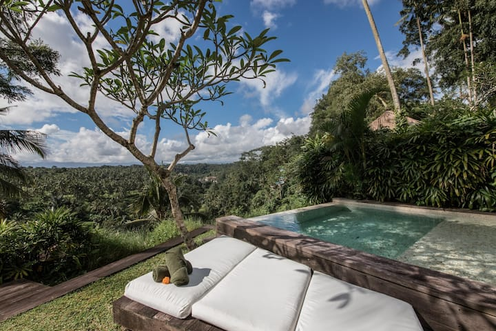 Modern designer villa with river and volcano views