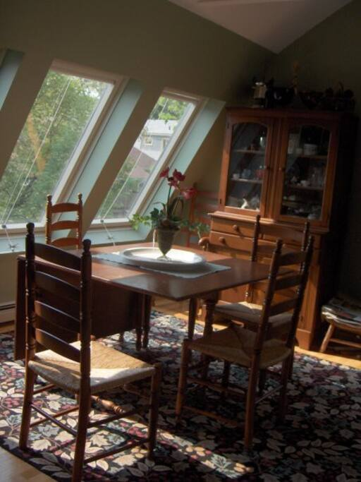 Dining area with gate-leg table. (Breakfast nook off kitchen as well.)