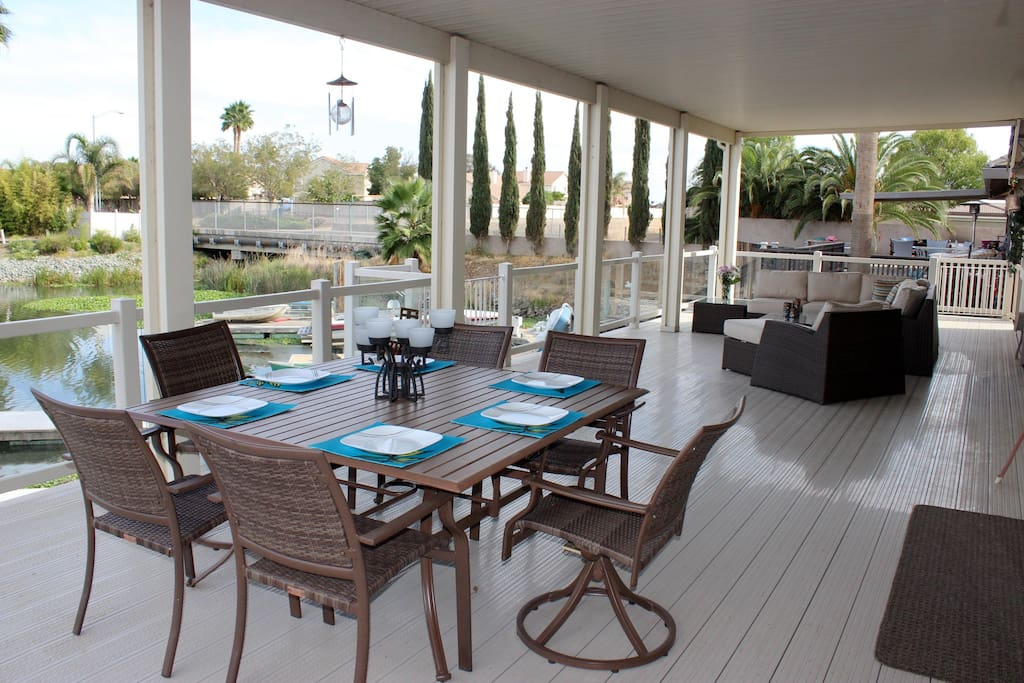 Enjoy a meal outside overlooking the water.