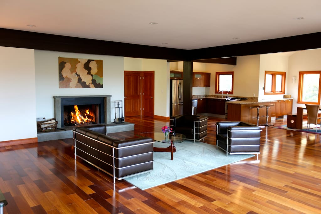 Beautiful floors that go on forever! Wood burning fire.
