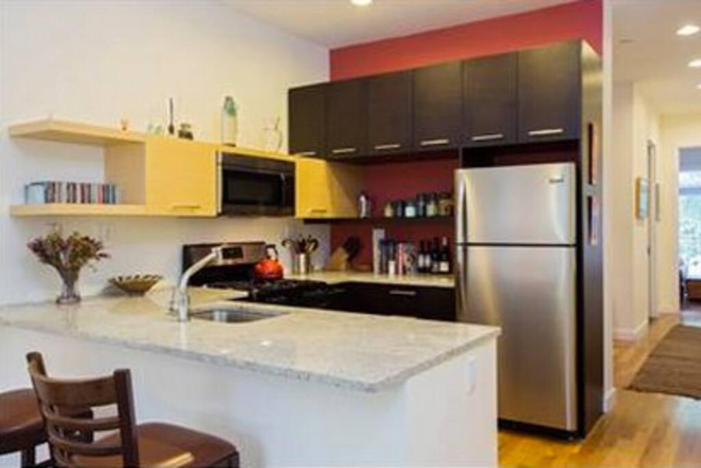 Open, modern kitchen