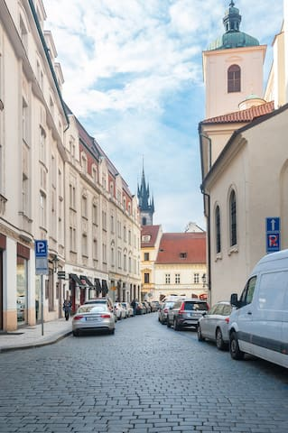 Jakubska street is a famous street just few meters from the Old Town Square and straight opposite to the Baroque St. James Church , which you see everyday from the windows.