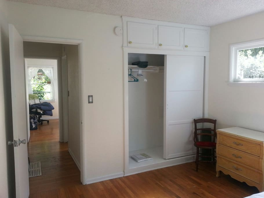 Closets in both rooms and dresser space to store your clothing.