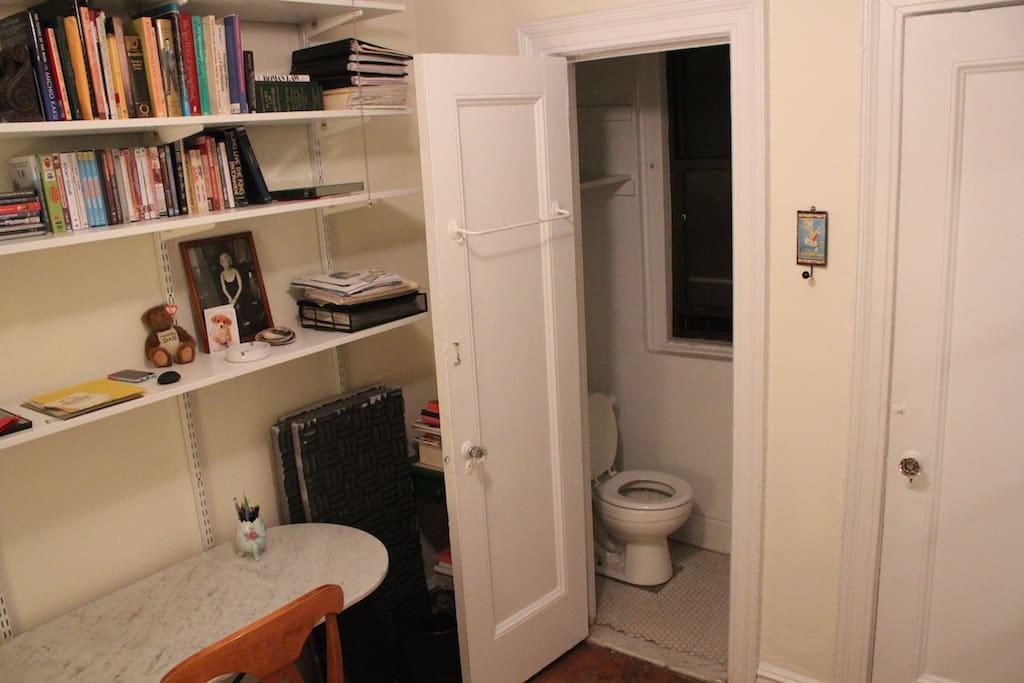 Desk, Shelves & 1/2 Bathroom