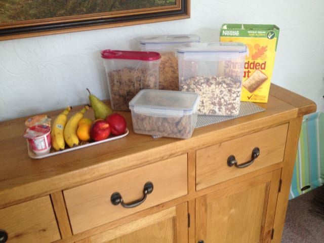 A selection of cereals for guests.