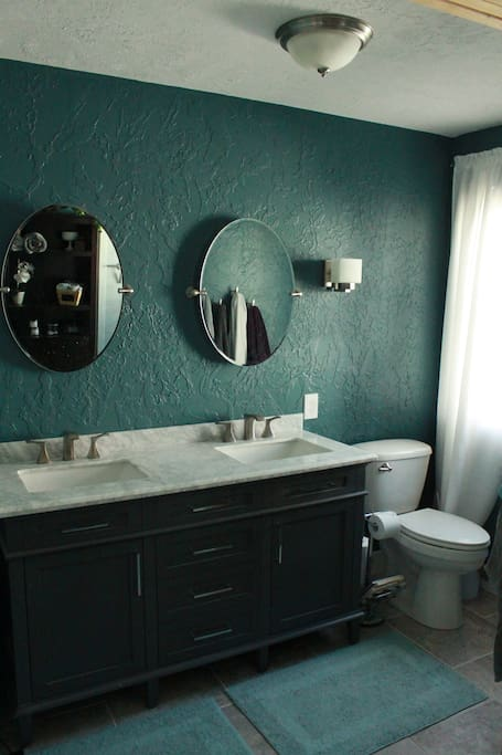 Large bathroom with double vanity