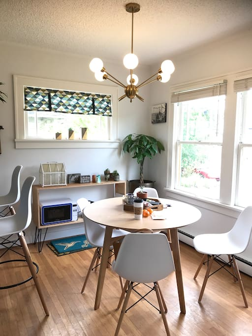 Eames dining chairs and table