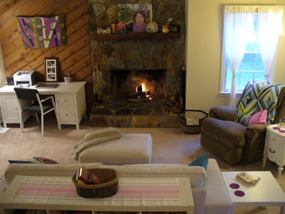 Enjoy the rustic fireplace - firewood included!