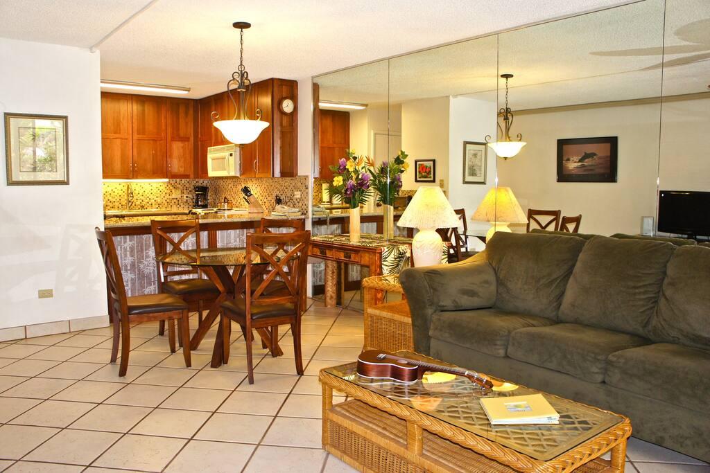 Newly remodeled kitchen, granite, glass mosaic back splash, cabinets using eco friendly lyptus wood