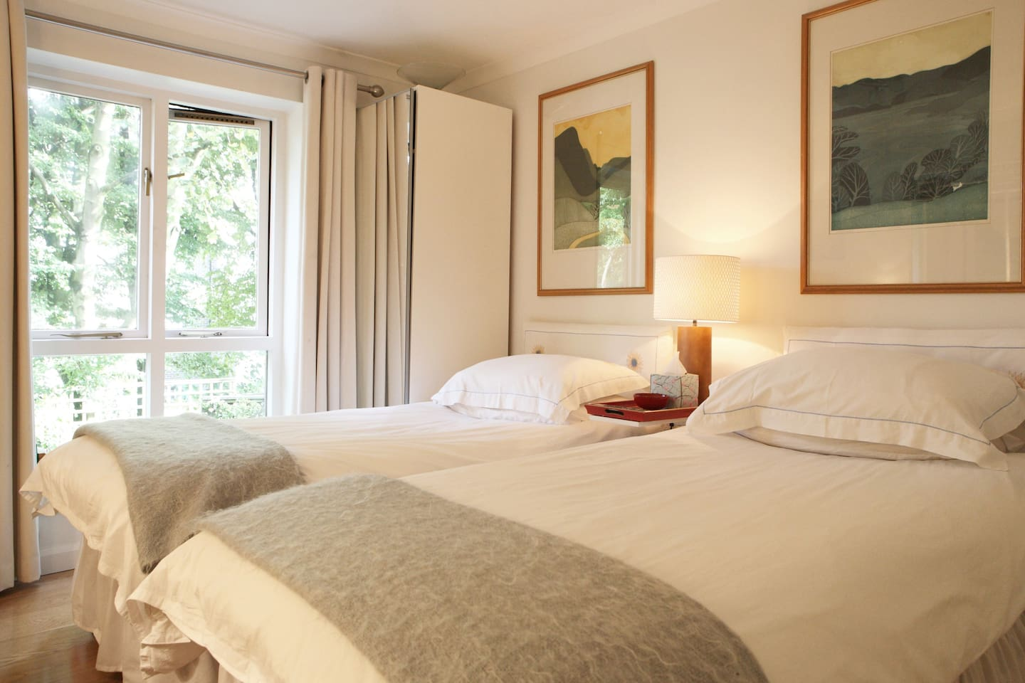 Two extremely comfy single beds. Cotton bedlinen and down pillows.