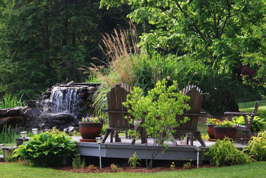 Waterfall and deck area.