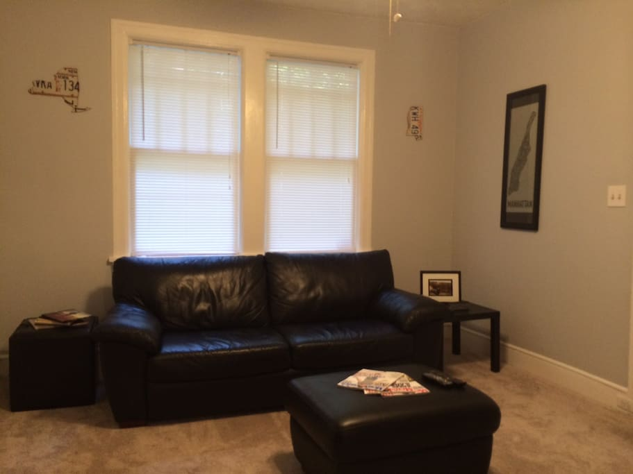 Living room with newer leather couches