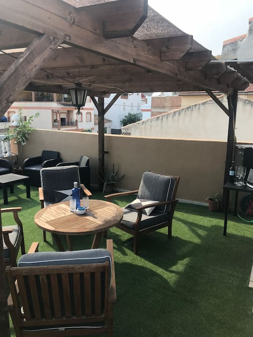 The roof terrace seating area
