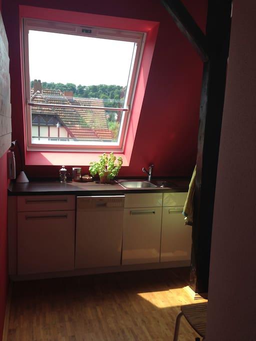 Küche mit Blick auf den Herrmannsweg