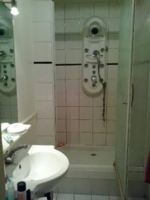 La salle de bain, avec la douche multijets