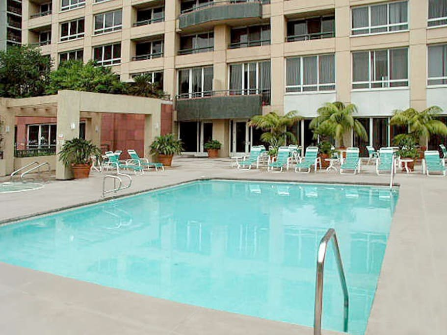 Awesome pool (great for tanning / lounging during the day) with Sauna and Gym!  BBQ grills too!