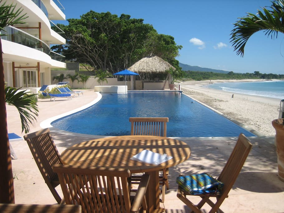 Large swimming pool right on the beach