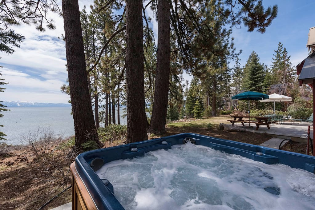 Even better — take in the lake views from your private hot tub!